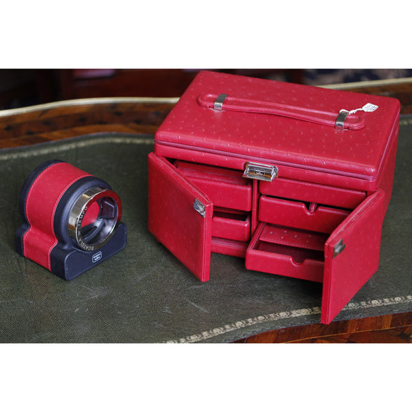 Scatola Del Tempo Luxury Red 'Ostrich' Leather Jewelley Box & Timepiece Winder 85053.06 - Ogden Of Harrogate - 1