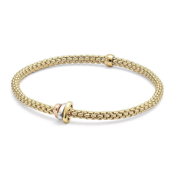 FOPE 18ct Yellow Gold 'Flex'it Prima' Bracelet with 3 Colour Gold Rondel