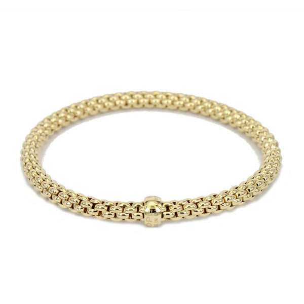 FOPE 18ct Yellow Gold 'Flex'it Solo' Bracelet with Plain Gold Rondel