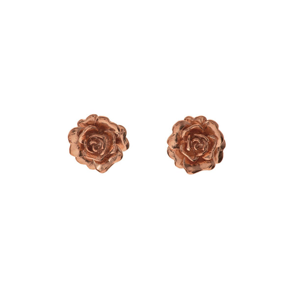 Rose Gold Plated Rosa Damasca Stud Earrings