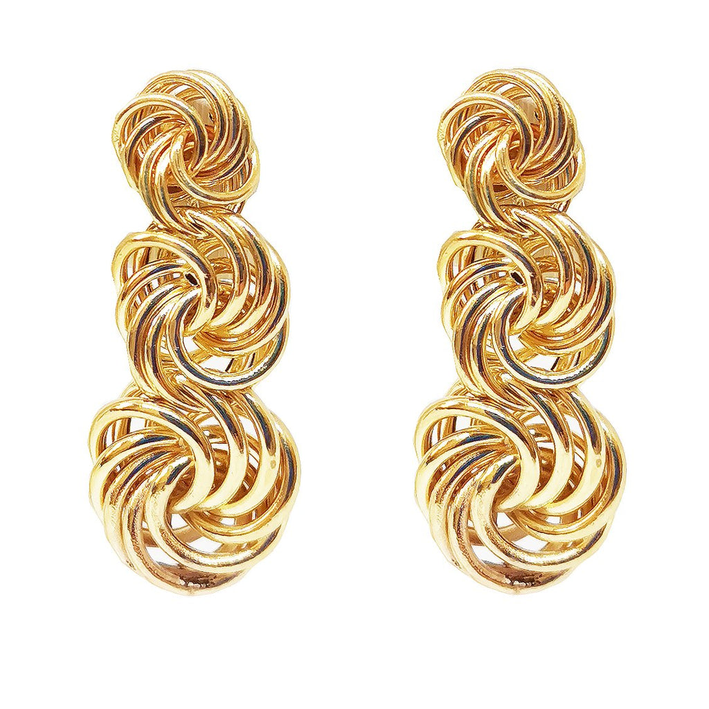 18 Carat Yellow Gold Triple Knot Drop Earrings