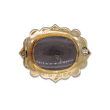 Yellow Gold, Enamel and Pearl Mourning Brooch