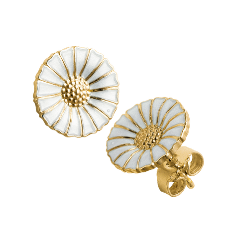 Daisy Earrings- Silver Gilt and White Enamel 3539207