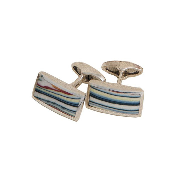 A pair of silver and enamel jazz stripe cufflinks with swivel bar connectors
