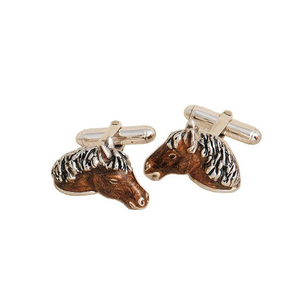 A pair of silver and enamel horse head cufflinks with swivel bar connectors