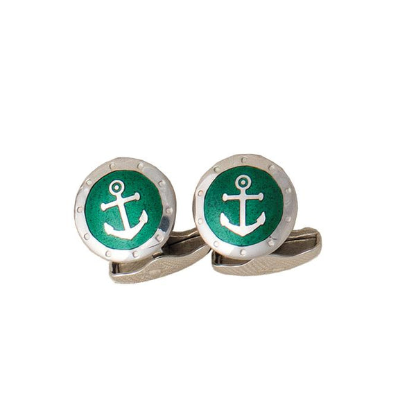 A pair of silver and enamel green anchor cufflinks with swivel bar connectors