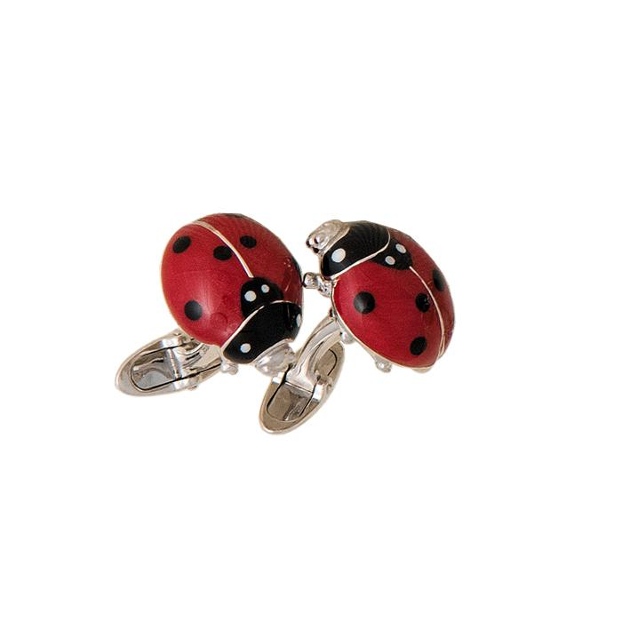 A pair of silver and enamel ladybird cufflinks with swivel bar connectors