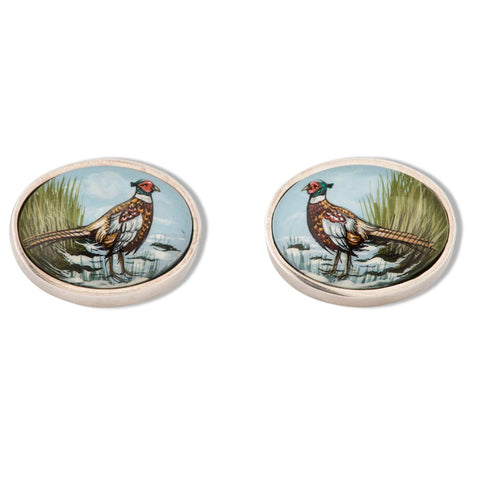 A pair of silver enamel, pheasant cufflinks