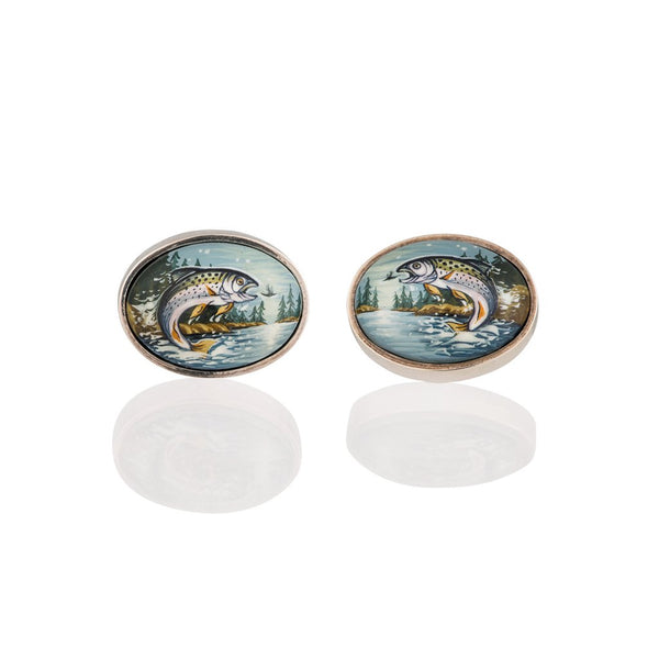A pair of silver and enamel hand painted salmon cufflinks