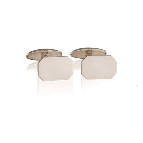 A pair of plain silver rectangular cufflinks