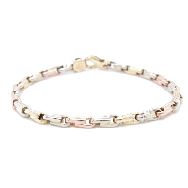Tricolour Gold Chain Bracelet