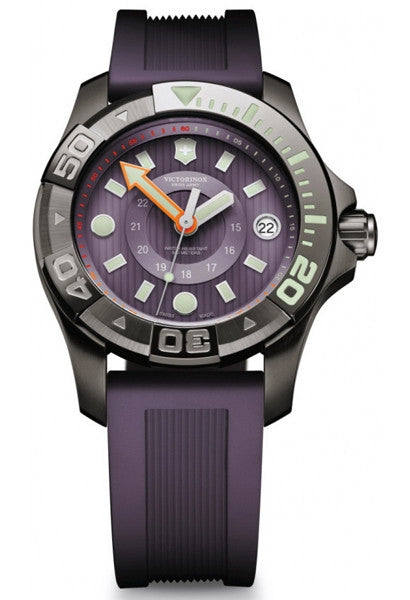 VICTORINOX Dive Master black ice purple rubber strap unisex watch 241558 - Ogden Of Harrogate