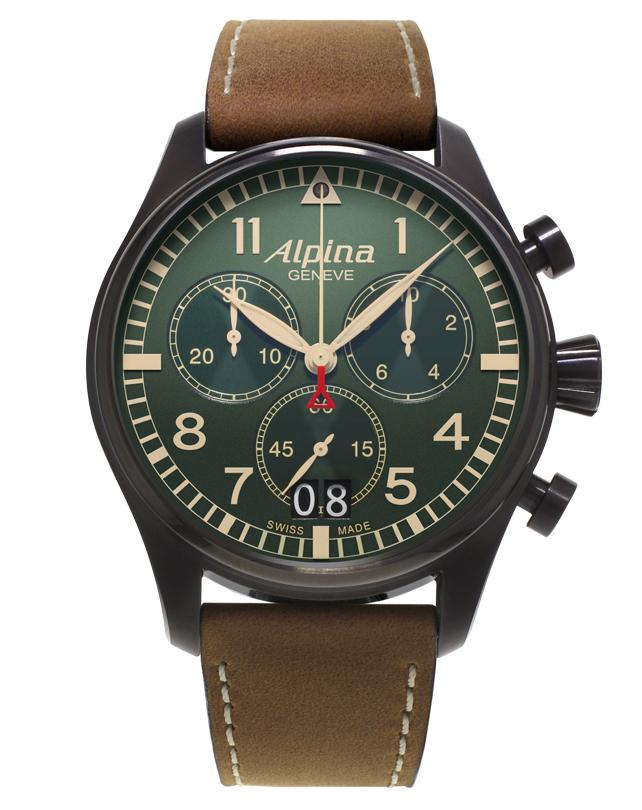 ALPINA Startimer Pilot Big Date Gents Chronograph Military Watch AL-372GR4FBS6