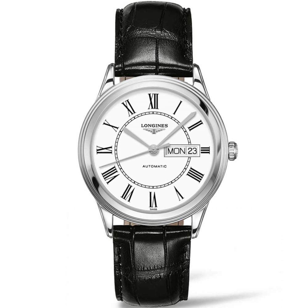 LONGINES L48994212 Men's Flagship Automatic Date Watch with Leather Strap