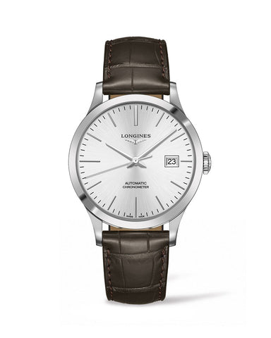 LONGINES L28214722 Men's Record 40mm Automatic Date Watch with Leather Strap