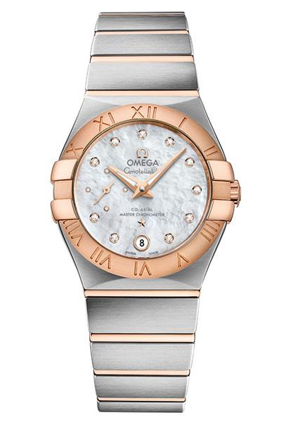 OMEGA Constellation Bi-Coloured Steel and Rose Gold Colour Mother of Pearl Dial Watch O12720272055001