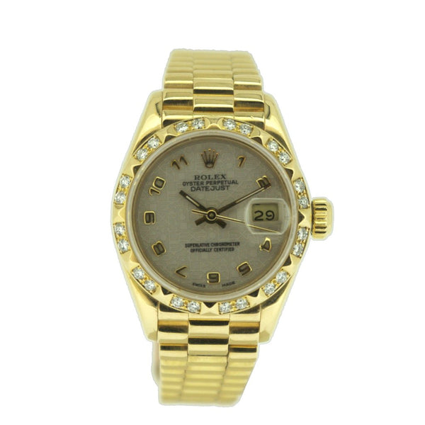 ROLEX 18ct Yellow Gold 'Oyster Perpetual Datejust' watch on bracelet