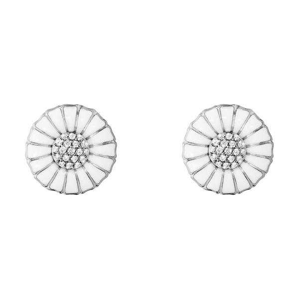 Daisy Earrings- Sterling Silver and White Enamel with Diamonds 10010538