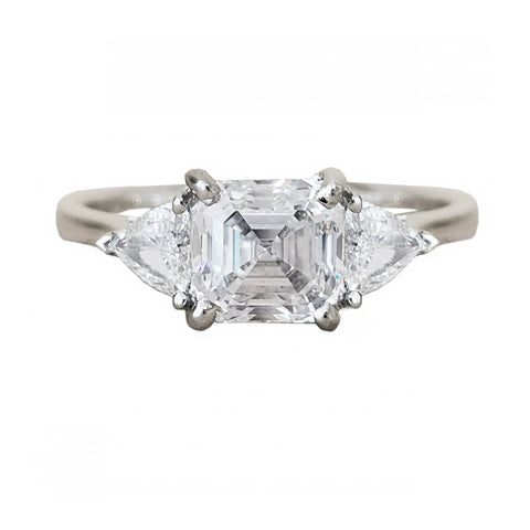 2.02cts Emerald Cut Diamond 3 Stone Ring