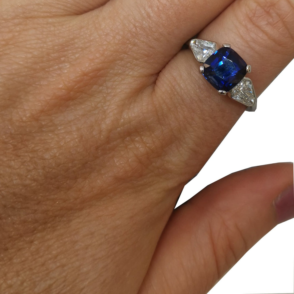 Cushion Sapphire and Diamond Trilogy Ring