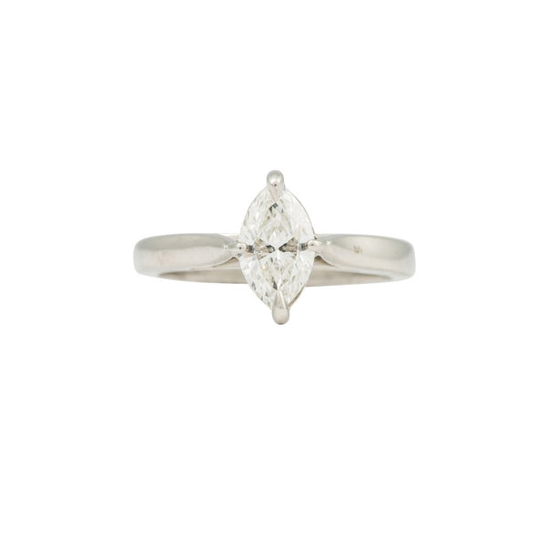 A platinum and marquise cut, diamond single stone ring 0.94cts