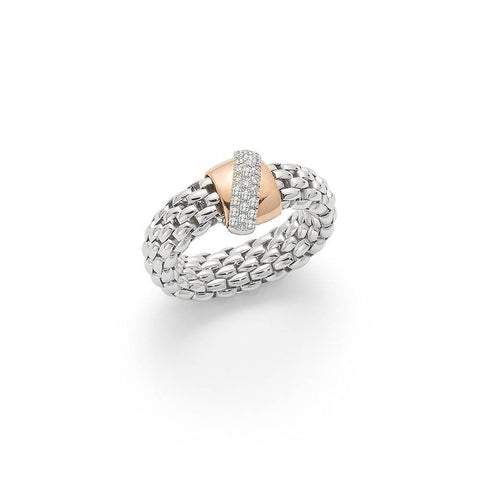 A 18ct white gold FOPE 'Flex'It Vendôme' ring with diamond set rose gold rondel