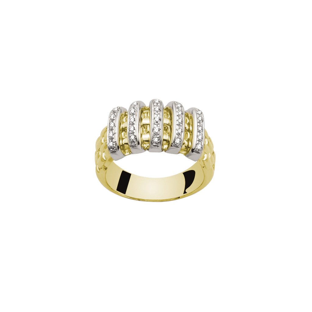 FOPE 'Virginia' 18ct yellow gold ring with diamond-set bars 0.22cts