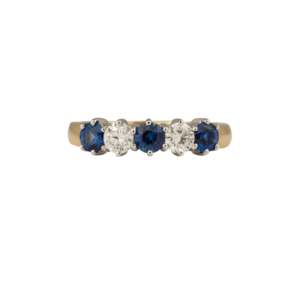 An 18ct yellow and white gold, round sapphire and diamond, half eternity ring 1.20cts