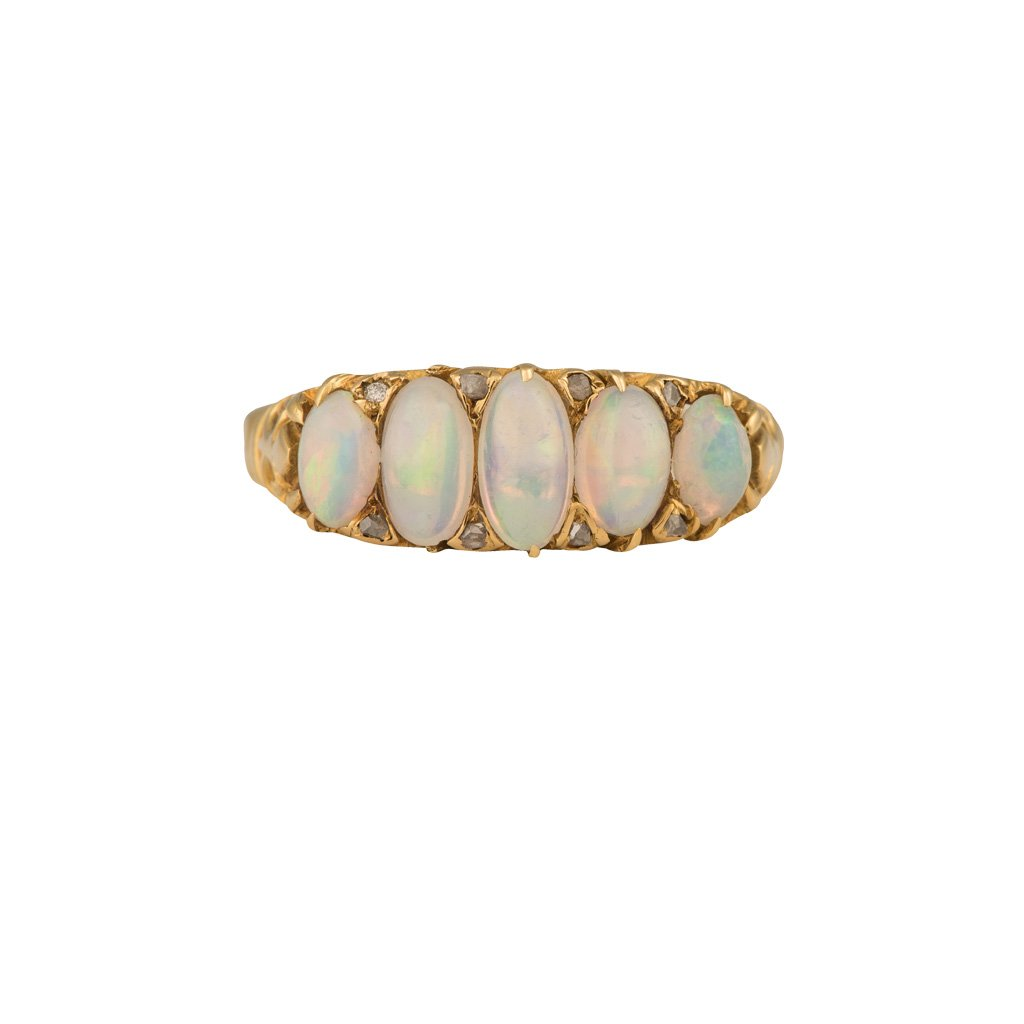 An 18ct yellow gold, 5 stone, oval opal graduated ring