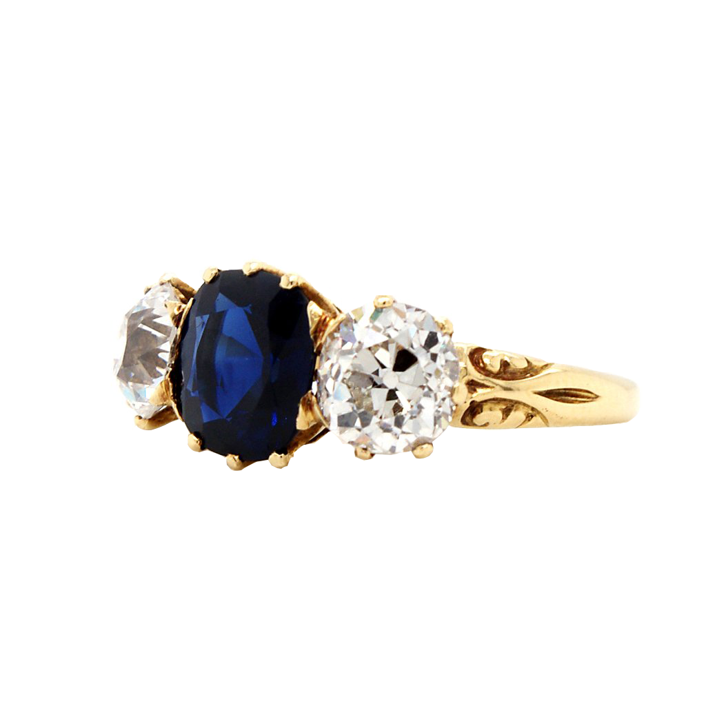 A Sapphire and Diamond Three stone Ring, Circa 1900