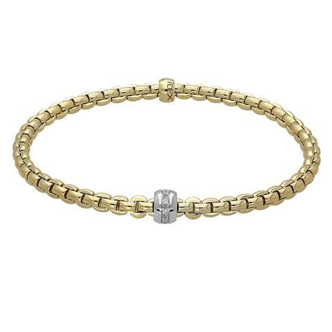 FOPE 18ct Yellow Gold 'Flex'it Eka' bracelet with White Gold Diamond-set Rondel