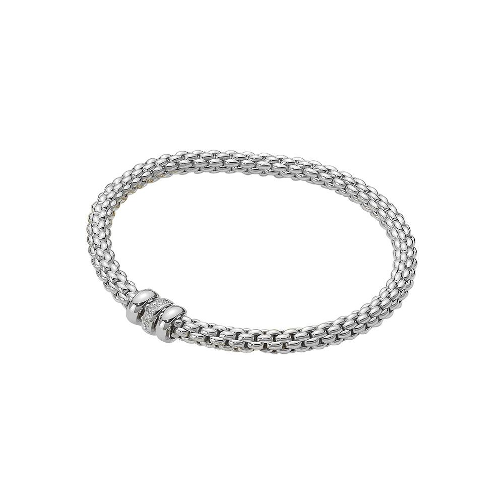 FOPE 18ct White Gold Flex'it Bracelet with Rondels 621B