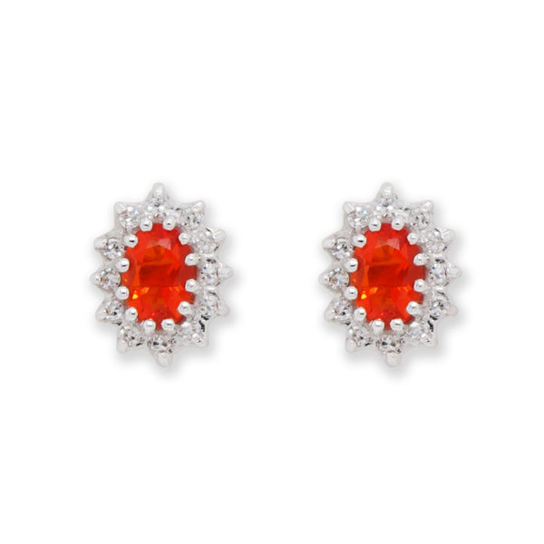 This bright and beautiful pair of brilliant Mexican fire opal earrings are each surrounded by a border of 12 sparking diamonds. They are set in 18 carat white gold, with a yellow gold post and butterfly.