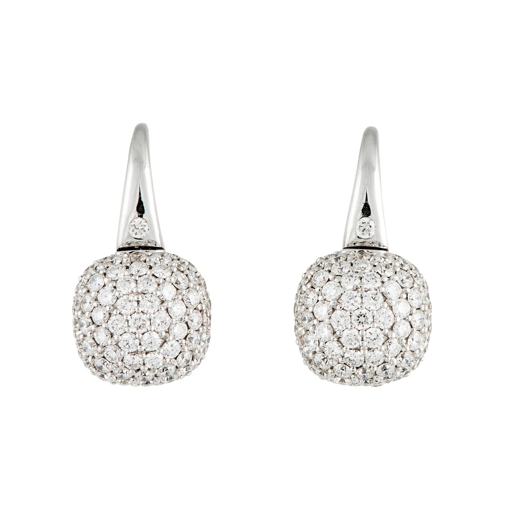 A pair of 18ct white gold and diamond dome earrings