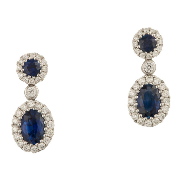 A pair of 18ct white gold, sapphire and diamond cluster drop earrings 1.82cts