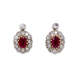 A pair of 18ct gold, silver, ruby and diamond cluster earrings