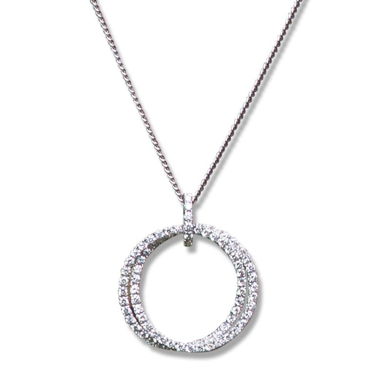 An 18ct White Gold and Diamond Hoop Pendant