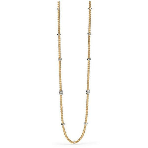 An 18ct yellow gold FOPE 'Flex'It Prima' necklace with diamond set white gold rondels