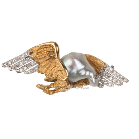 Diamond winged bird brooch