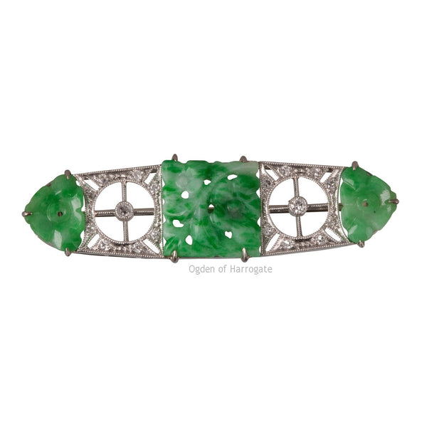 Platinum, diamond and jade panel brooch - Ogden Of Harrogate