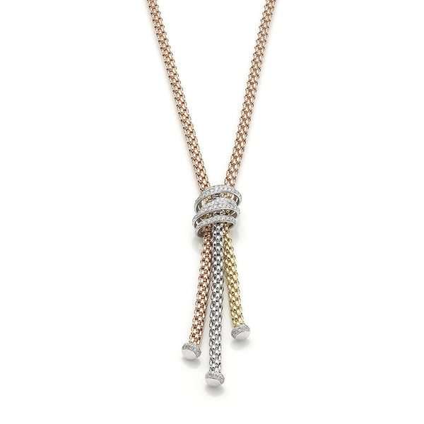 FOPE 18ct Rose Gold, White Gold, Yellow Gold Rope Necklace with Diamond Pave