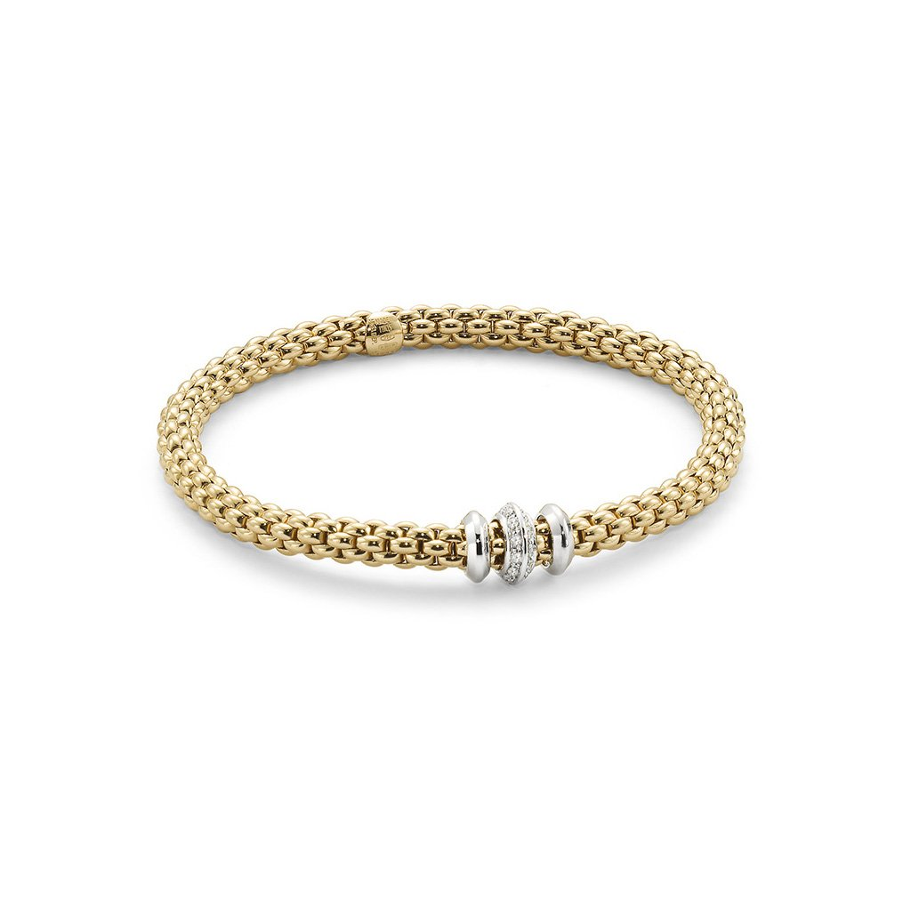 FOPE 18ct Gold, White Gold and Diamond Flex'It Bracelet 653B