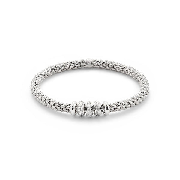FOPE 18ct White Gold Flex'it' Bracelet with White Gold and Diamond Rondels 655B