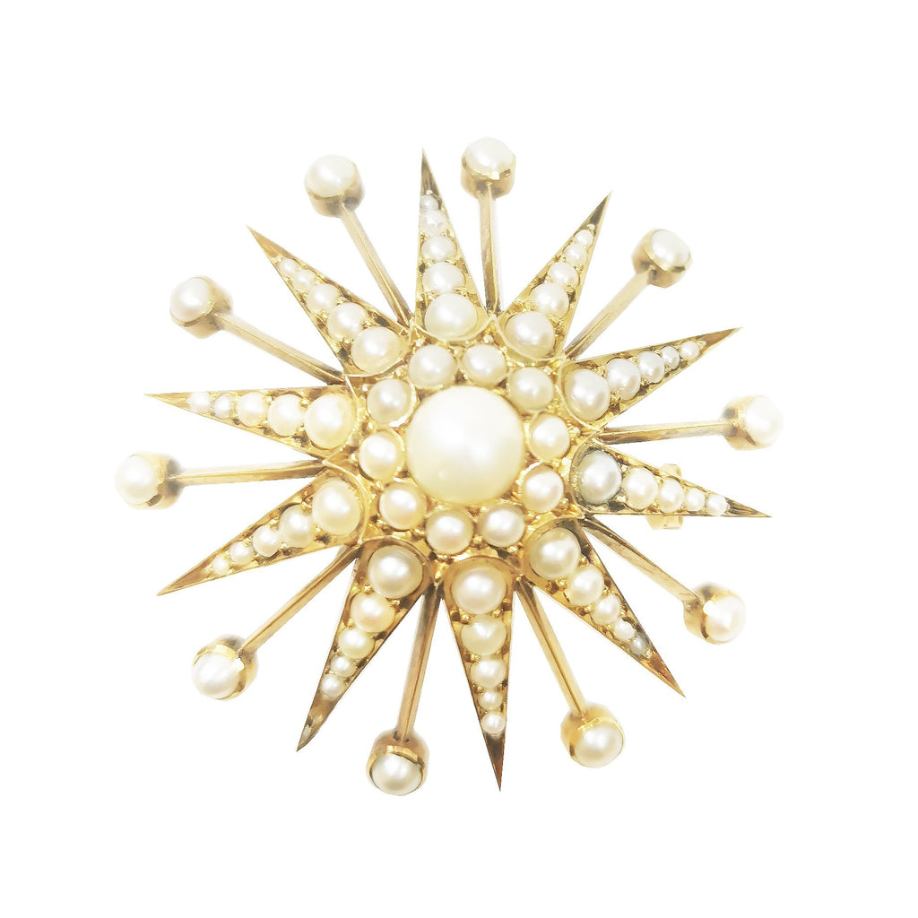 Victorian Star Shaped Pearl Brooch/Pendant