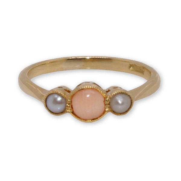 15ct Yellow Gold Coral and Seed Pearl Ring