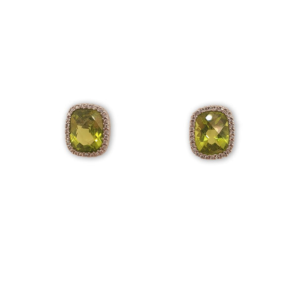 Pair of Peridot and Diamond Cluster Earrings