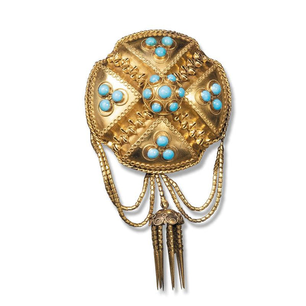 An early Victorian 18ct gold and turquoise brooch, c.1850