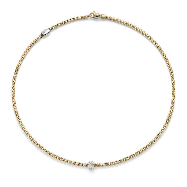 FOPE 18ct Gold Rope Necklace with White Gold and Diamond Pendant 730C
