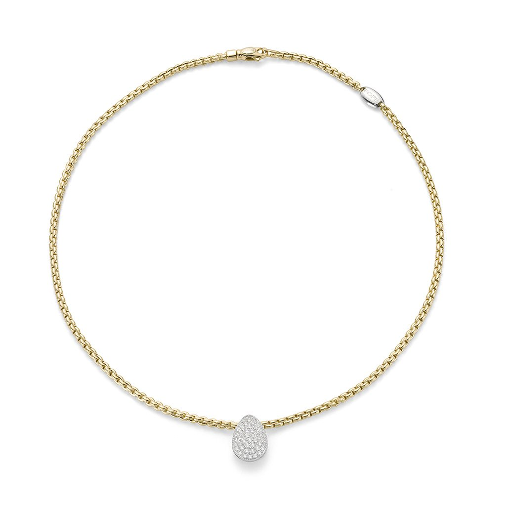 FOPE 18ct Yellow Gold Flex'it  Necklace with an 18ct White Gold, Diamond Drop Pendant 733C PAVE