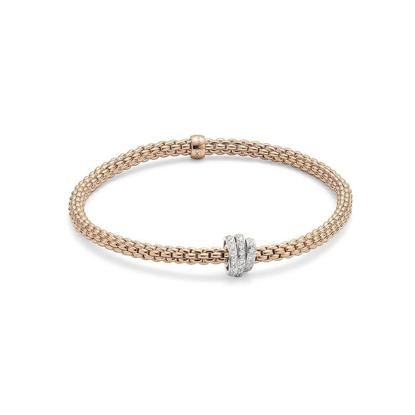 FOPE 18ct Rose Gold Flex'it Bracelet with Rondels 744B